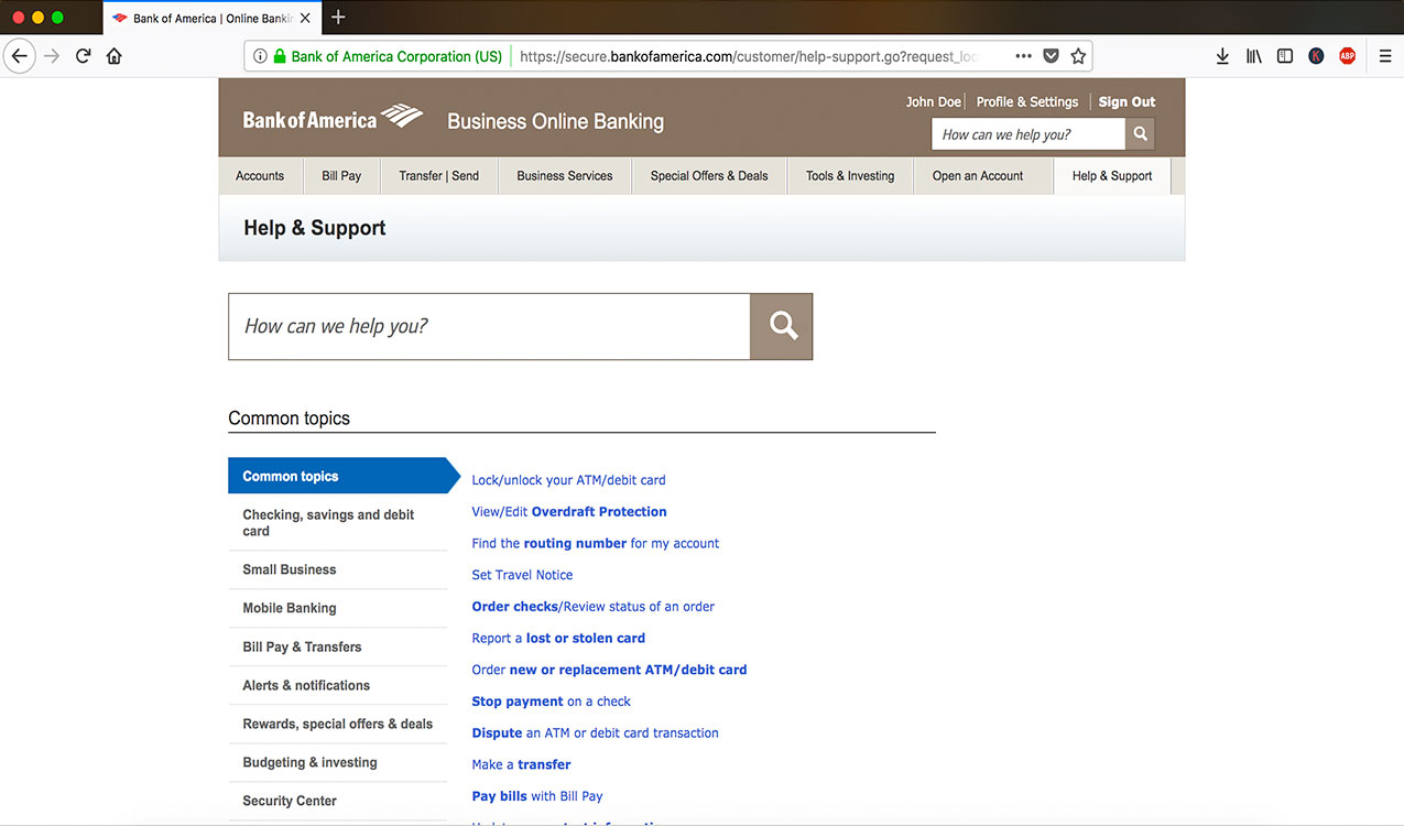 online banking support page