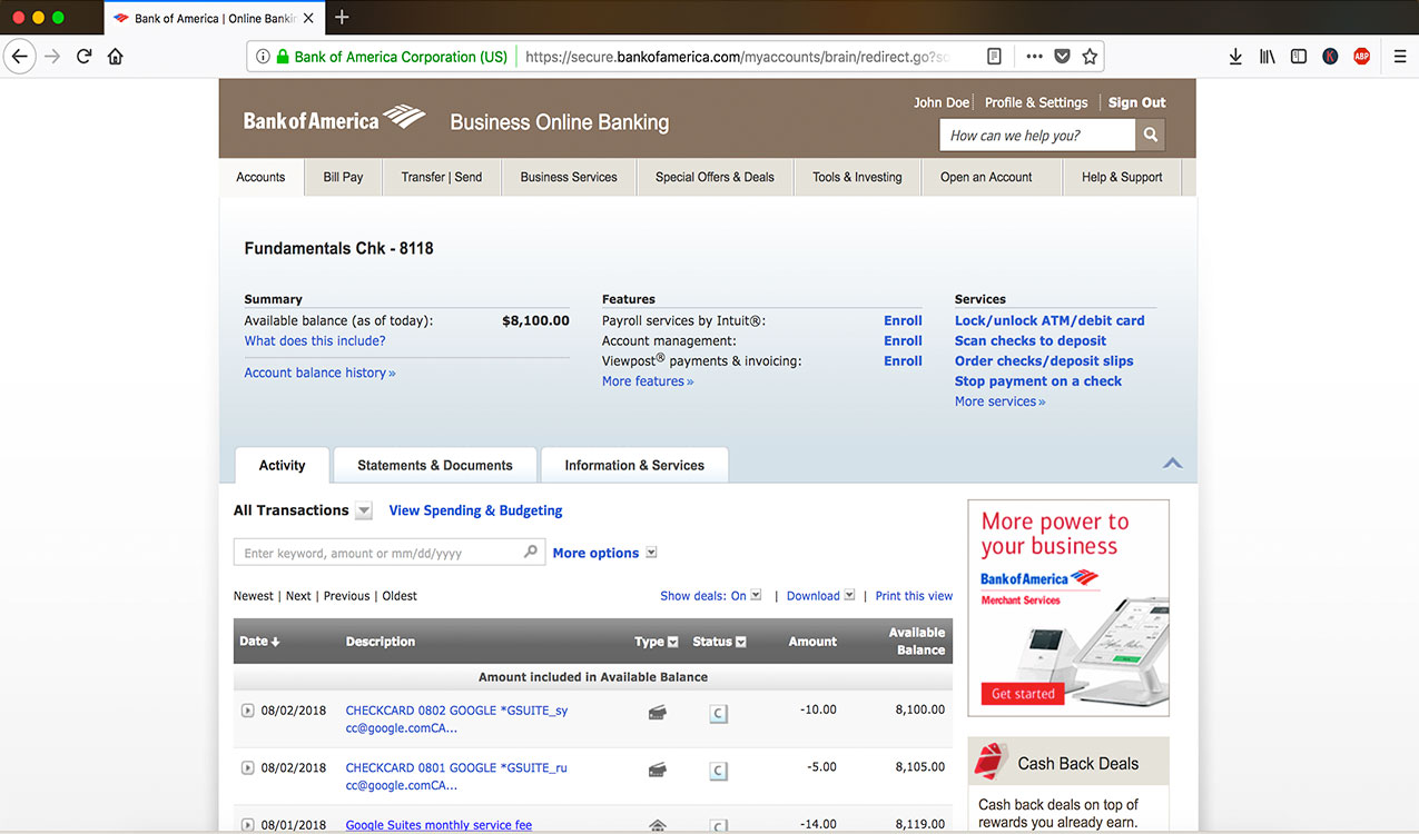 statement page online banking